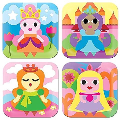 French Bull - BPA Free Children's Dinner Set - 8-Inch Melamine Kids Plate Set - Princess, Set of 4