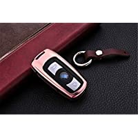 [M.JVisun] Car Key Fob Cover For BMW 3 Series 5 Series 6 Series BMW M3 M5 BMW X1 X5 X6 BMW Z4 Remote Key , Smart Car Key Case Cover Skin, Aircraft Grade Aluminum + Genuine Leather Keychain - Rose Gold