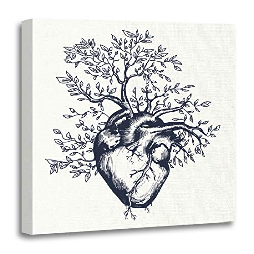 Emvency Canvas Wall Art Print Green Life Anatomical Human Heart from Which The Tree Grows Tattoo Beat Artwork for Home Decor 20 x 20 -