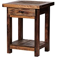 Mountain Woods Furniture The Wyoming Collection One-Drawer High Nightstand, Bronze Pull, 30 High