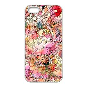 iPhone 5 5s Cell Phone Case White Colorful Watercolor Floral Pattern Abstract S PFZ Hard Customized Cell Phone Case