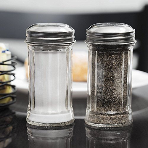 (Tablecraft Fluted Glass 2 Oz Salt/ Pepper Shakers with S/S Tops)