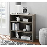 Easy to Assemble, Contemporary Style, Mainstays 3-Shelf Wood Bookcase, Multiple Colors, Rustic Oak