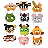 Animal Face Masks - 24-Pack Kids Photo Booth, Selfie Props Kit, Party Favors