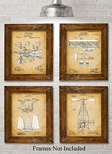 Original Flying Machines Patent Prints - Set of Four Photos (8x10) Unframed - Makes a Great Gift Under $20 for Engineers and Pilots