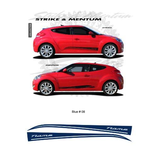 Hyundai Veloster Blue Body Side Stripes Graphic Kit