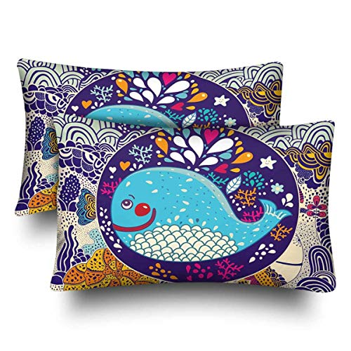 (a PIN Blue Whale Sea Life Aztec Fish Animal Pillow Cases Pillowcase Queen SizeSet of 2, Rectangle Pillow Covers Protector for Home Couch Sofa Bedroom Decoration50.8x50.8cm)