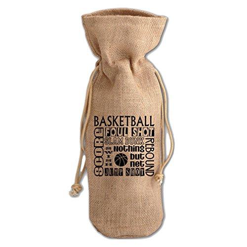 Basketball Four Shot Slam Dunk Nothing But Net Burlap Wine Drawstring Bag - Nothing But Net Basketball