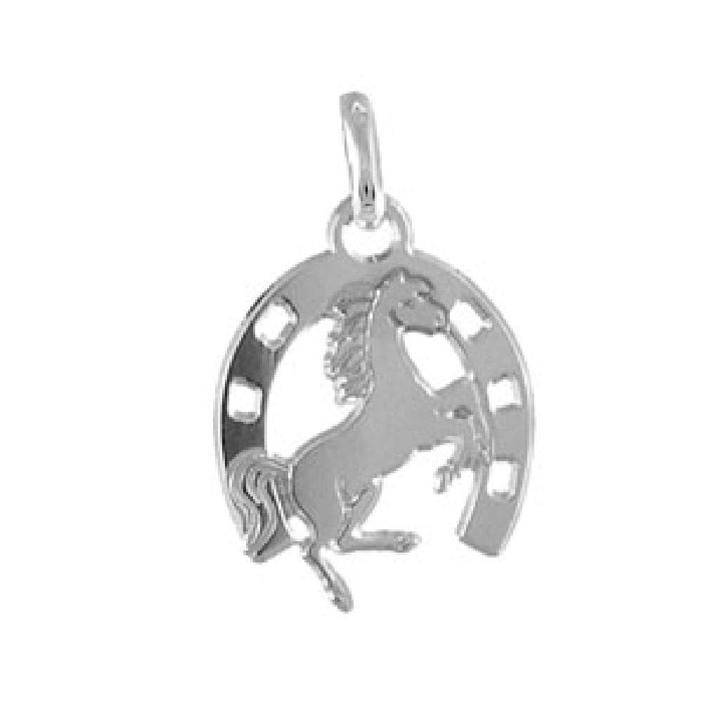 So Chic Jewels 925 Sterling Silver Horseshoe /& Prancing Horse Pendant