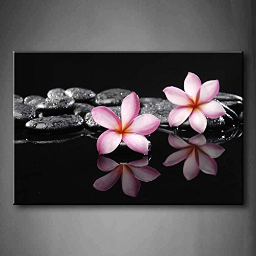 First Wall Art - Pink Still Life With Two Frangipani On Zen Stones Reflection