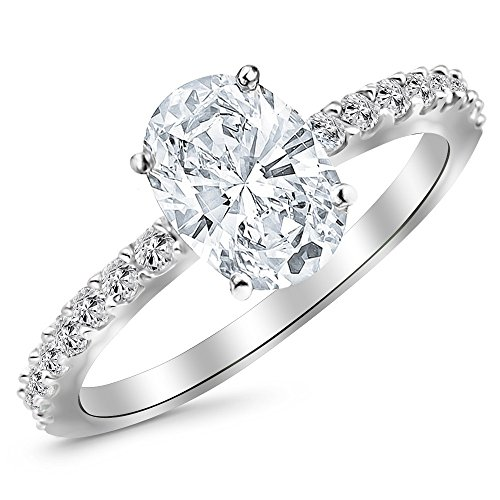 1.6 Ctw 14K White Gold Classic Side Stone Pave Set Diamond Engagement Ring (1.25 Ct H-I Color SI1-SI2 Clarity Oval Cut Center)