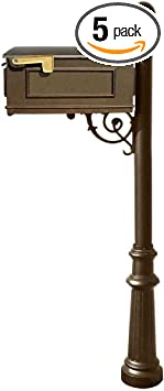 Qualarc Lewiston Cast Aluminum Post Mount Mailbox System With Post Aluminum Mailbox Fluted Base And Ball Finial Bronze Ships In 2 Boxes Home Improvement
