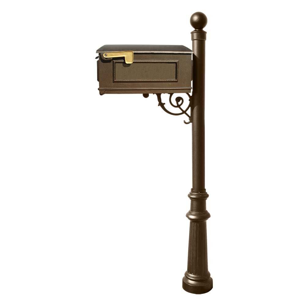 Qualarc Lewiston Cast Aluminum Post Mount Mailbox System with Post, Aluminum Mailbox, Fluted Base and Ball Finial, Bronze, Ships in 2 boxes