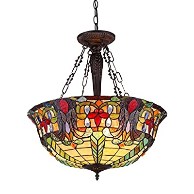 "Chloe Lighting CH36466RV22-UH3 Tiffany Riley, Tiffany-Style 3 Light Victorian Inverted Ceiling Pendant Fixture 22"" Shade, Multi"
