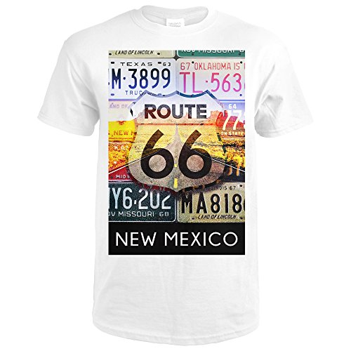 Collectable License Plate (New Mexico - Route 66 License Plates (Premium White T-Shirt Large))