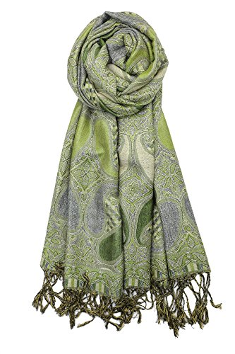 Achillea Soft Silky Multi Color Paisley Pashmina Double Layered Shawl Scarf Wrap Stole (Green)