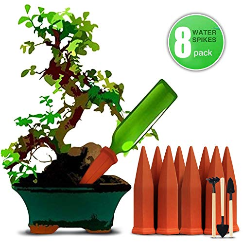 Terra Cotta Water - DCZTELG Plant Waterer Spikes Devices Plant-Automatic Drip Irrigation Watering Care Your Flower Travel Forgetting Potted Plants (TC8-pack)