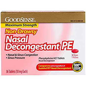 GoodSense Nasal Decongestant Phenylephrine HCl 10 mg tablets, 36-count