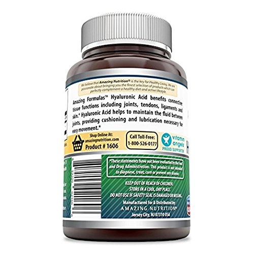 Amazing Formulas Hyaluronic Acid 100 mg Capsules - Support Healthy Connective Tissue and Joints - Promote Youthful Healthy Skin (250 Count)