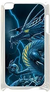 Dragon Holding Skulls- Case for the Apple Ipod 4th Generation-Hard White Plastic