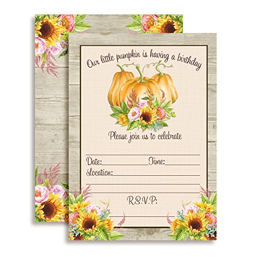 - Watercolor Sunflower & Peony Floral with Pumpkins Birthday Invitations, 20 5