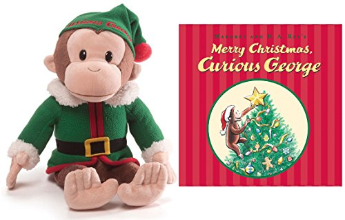 "Curious George 12 Inch Christmas Elf Plush, with ""Merry Christmas, Curious George"" book"