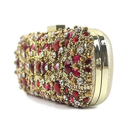 Rouge La pour Miroir Soirée Mariée De Fête discothèques Prom pour Sac Mariage Clutch Purse de Encré De Diamante Ax4xd8