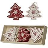 Box of 12 Traditional Vintage Style Red/Cream Wooden Christmas Tree Shaped Christmas Tree Decorations by Heaven Sends