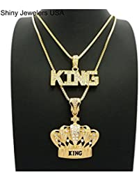 MENS KING CROWN BLACK & GOLD, KING ICED OUT HIP HOP...