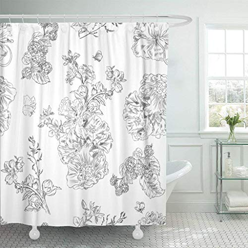 Green Toile Shower Curtain - GETTOGET Colorful Toile Floral Pattern with Peony and Raspberries Black Line on White Prints Vintage Style Jouy Shower Curtain Bathroom Sets Hooks,Mildew Resistant Waterproof Polyester Curtain