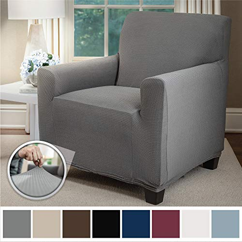 - Sofa Shield Original Fitted 1 Piece Chair Slipcover, Soft Stretch, Seat Width Up to 23
