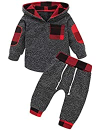 Toddler Infant Baby Boys Girls Stylish Plaid Floral Pocket Hooded Sweatshirt Coat, Kids Jackets Tops + Pants Outfit Sets