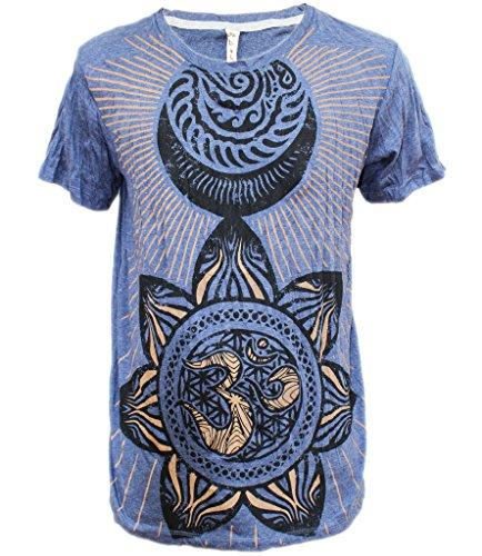 Yoga Shirts - Omtimistic Men's Hindu Aum 'Flower Patterns & Om Symbol' T-Shirt - Medium (Gangster Outfits For Men)