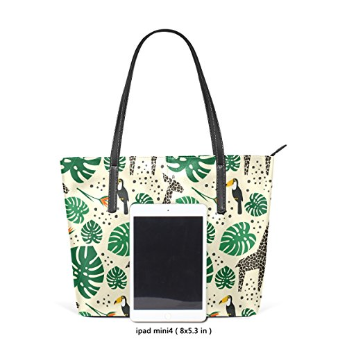 Handbag And Leather Fashion Women's Top Giraffes PU Bags TIZORAX Handle Leaves Purses Toucans Shoulder Palm Totes 0WpEzBH