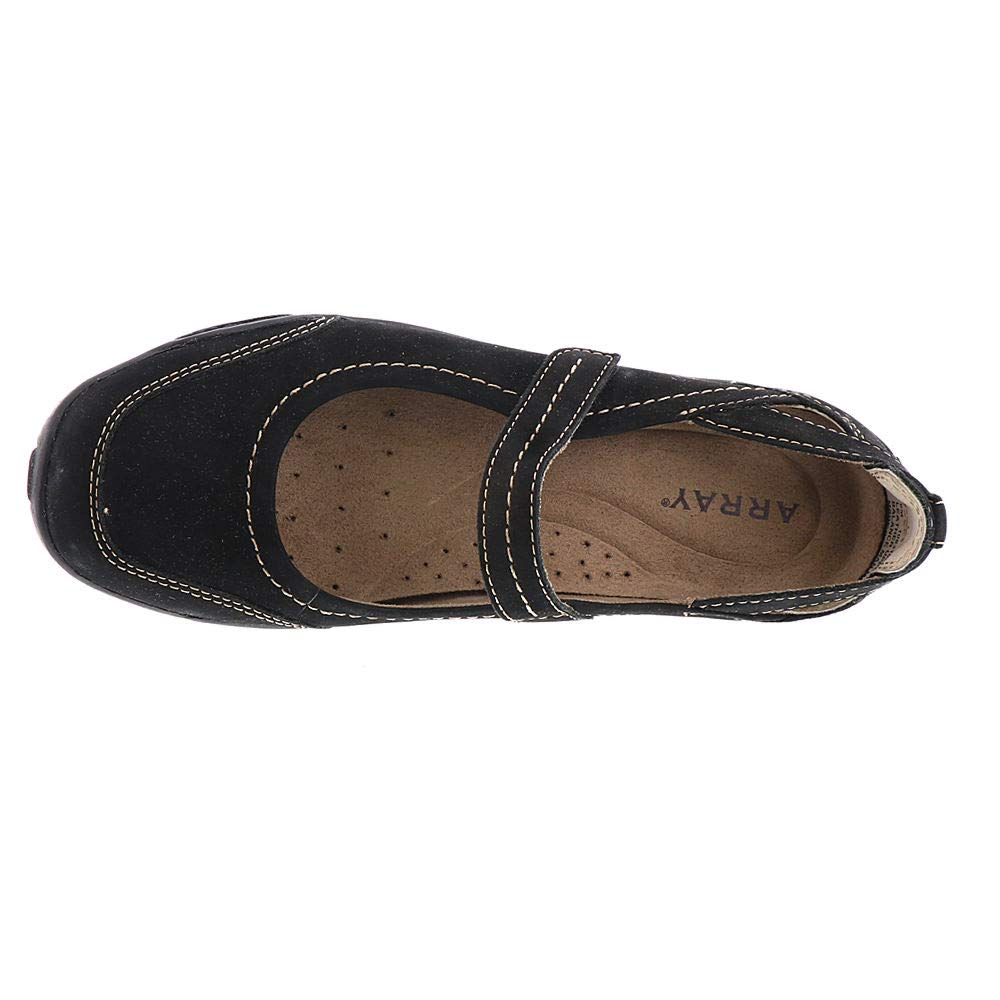 Size 7.0 Black ARRAY Womens Julia Leather Closed Toe Mary Jane Flats