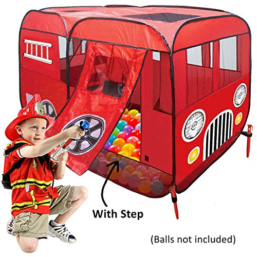 Fire Truck Pop-Up Play Tent (with Step) - Great for Ball Pit - Children Can Pretend Play as Fireman Sam - Use Indoor / Outdoor, Can Fit Crib Bed for Fire Engine Playhouse for Boys Girls Kids or Pets