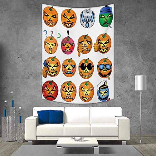 Halloween Wall Hanging Tapestries Carved Pumpkin with Emoji