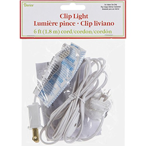 Darice Accessory Cord with One Bulb Light - 6' White Cord with On/Off Switch Plugs Into Electrical Outlet - Perfect for Lighting Holiday Decorations and Craft Projects (1 Cord) -