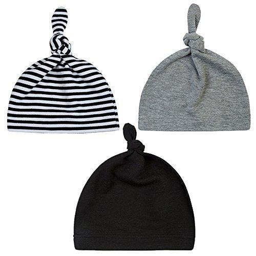 Unisex Baby Adjustable Knot Hat Cotton soft Cute Knit Hat Cap (3 pack(black+gray+black stripe)) (Black Knit Beanie Cap)