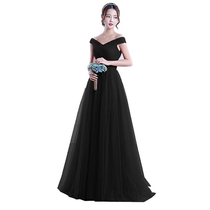 b7f886ebf69 Nicefashion Off the Shoulder Elegant Corset Back Long Evening Semi Formal  Dress Black US2