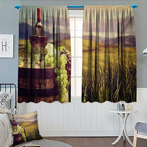 Chaneyhouse Wine Room Darkening Curtains Italy Tuscany Landscape Rural Vineyard Autumn Harvest Grapes Drink Viticulture Customized Curtains 55