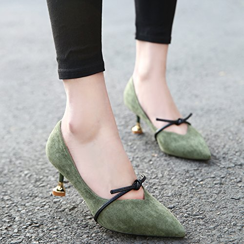 Sharp And Lady Bow Single Heel Heel High 6 Elegant Green Heels Cat Leisure Fine Work Shoes Retro Spring 5Cm MDRW Ink 37 UA6fww