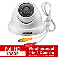 ZOSI 2.0 Megapixel HD 1080P 4-in-1 TVI/CVI/AHD/CVBS CCTV Home Surveillance Weatherproof Security Cameras,65ft(20m) IR Distance, Compatible for HD-TVI, AHD, CVI, and CVBS/960H analog DVR (White)