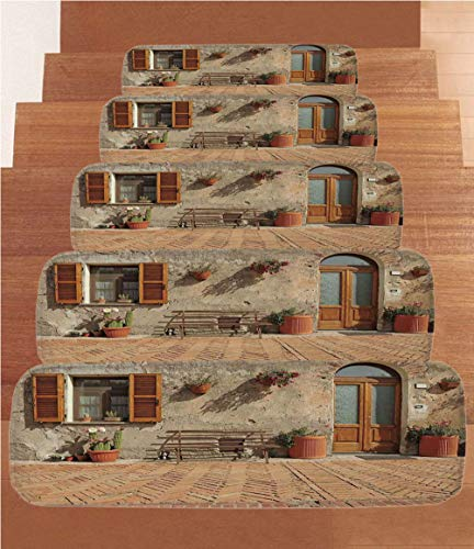 SoSung Tuscan Coral Fleece Stair Treads,Stair Tread Mats,Medieval Facade Rustic Wooden Door Ancient Brick Wall in Small Village,(Set of 5) 8.6