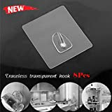 Dacawin Adhesive Hooks - Anti-Skid Hooks - Waterproof, Oilproof, Reusable Transparent Traceless Wall Hanging Hooks for Towel, Keys, Bags, Home, Kitchen, Bathroom (Clean, 8 Pcs)