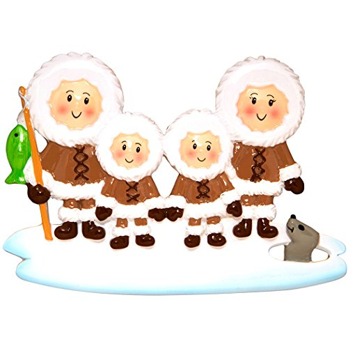 Personalized Eskimo Family of 4 Christmas Tree Ornament 2019 - Parent Friend Brown Fishing Ice Seal Holiday Winter Tradition Grand-Children Kid Alaska Cold Canada Gift Year - Free ()