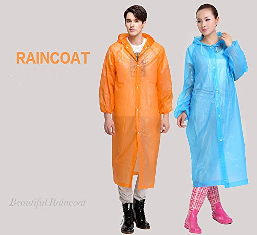 CTKcom 4Pcs Disposable Raincoats,Portable Reusable with Hoods and Sleeves Rain Coats Waterproof Lightweight Rain Coat Perfect for Camping Hiking Sport Outdoor Activities For Men and Women (Orange) by CTKcom (Image #6)