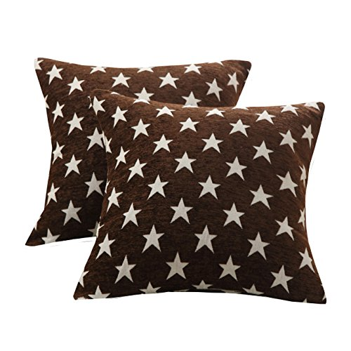 Chenille Bench - Sunday Praise Set of 2,Soft Chenille Decorative Throw Pillow Cover Case Geometric Stars Pattern Design Accent Square Cushion Cover Case Sham for Couch Sofa Bed Car 18 x 18 Inch 45x45cm (brown)