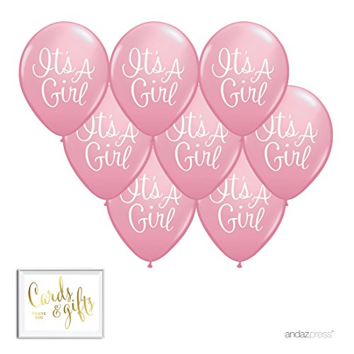 Andaz Press Printed Latex Balloon Party Kit with Gold Cards & Gifts Sign, Elegant It's a Girl, 8-Pk, Baby Shower