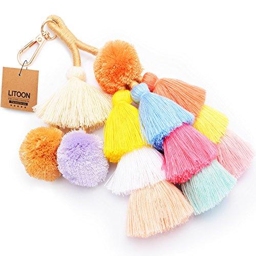 Tassel Pom Pom Key Chain Colorful Boho Charm Key Ring, Fashion Accessories for Women (Charm Key Ring)